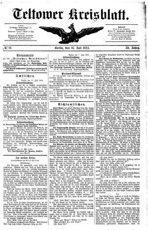 Teltower Kreisblatt vom 16.07.1885