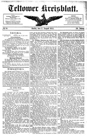 Teltower Kreisblatt vom 08.08.1885