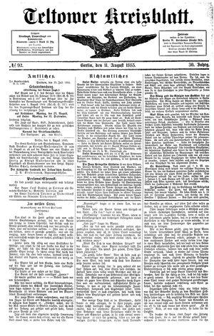 Teltower Kreisblatt vom 11.08.1885