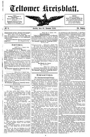 Teltower Kreisblatt vom 14.01.1886
