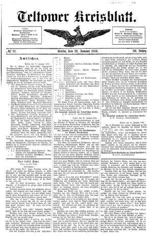 Teltower Kreisblatt vom 28.01.1886