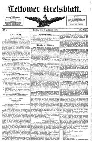 Teltower Kreisblatt vom 04.02.1886