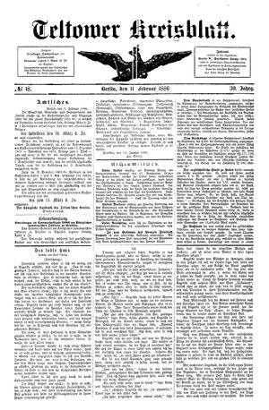 Teltower Kreisblatt on Feb 11, 1886