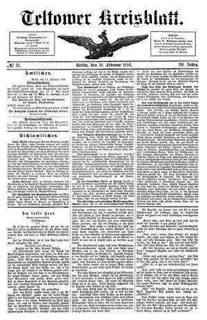 Teltower Kreisblatt vom 18.02.1886
