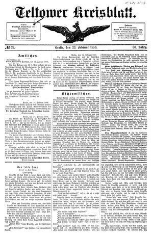 Teltower Kreisblatt vom 23.02.1886