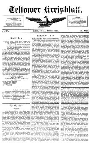 Teltower Kreisblatt vom 25.02.1886
