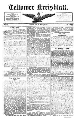Teltower Kreisblatt vom 02.03.1886