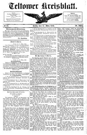 Teltower Kreisblatt vom 18.03.1886