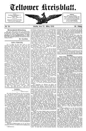 Teltower Kreisblatt on Mar 25, 1886