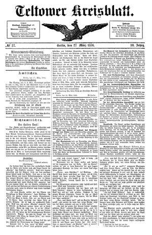 Teltower Kreisblatt vom 27.03.1886