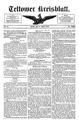 Teltower Kreisblatt vom 06.04.1886