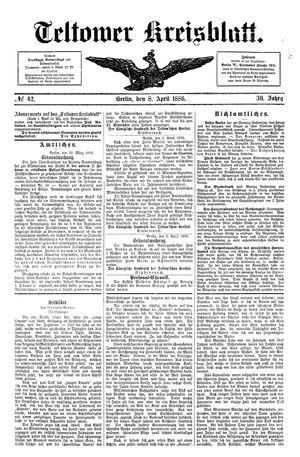 Teltower Kreisblatt vom 08.04.1886