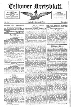 Teltower Kreisblatt vom 13.04.1886