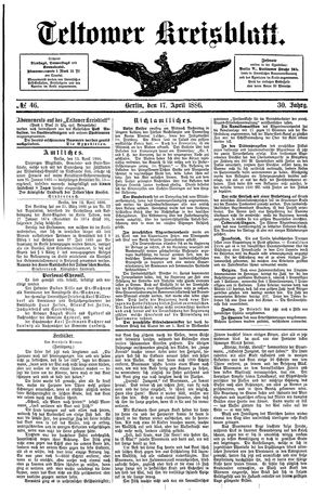 Teltower Kreisblatt vom 17.04.1886