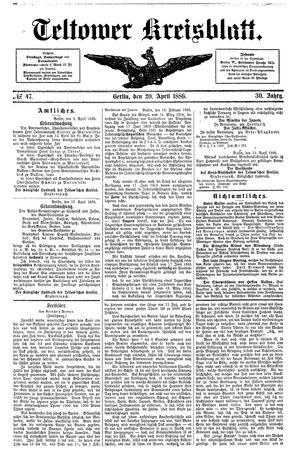 Teltower Kreisblatt vom 20.04.1886