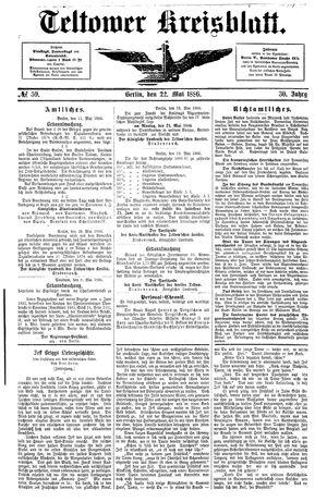 Teltower Kreisblatt on May 22, 1886