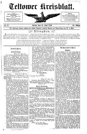 Teltower Kreisblatt vom 12.06.1886