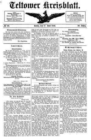 Teltower Kreisblatt vom 15.06.1886