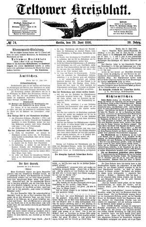 Teltower Kreisblatt vom 29.06.1886