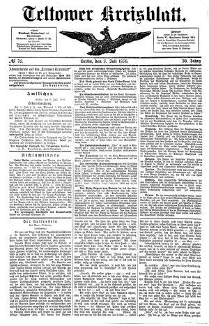 Teltower Kreisblatt vom 08.07.1886