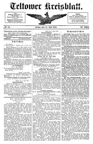 Teltower Kreisblatt vom 13.07.1886