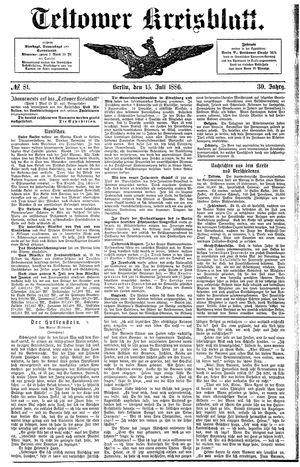 Teltower Kreisblatt vom 15.07.1886