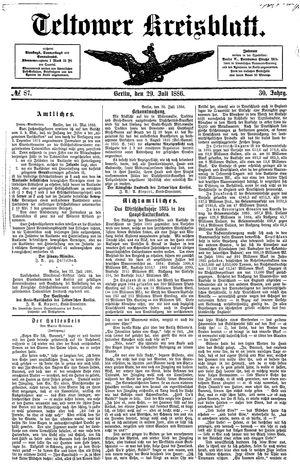 Teltower Kreisblatt vom 29.07.1886