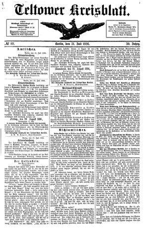 Teltower Kreisblatt vom 31.07.1886