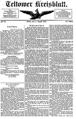 Teltower Kreisblatt vom 03.08.1886