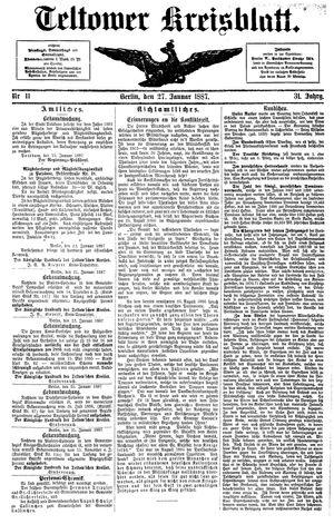 Teltower Kreisblatt vom 27.01.1887