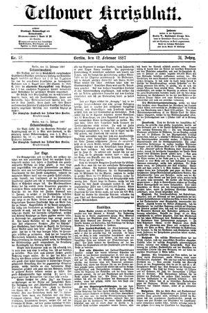 Teltower Kreisblatt vom 12.02.1887