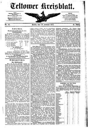 Teltower Kreisblatt on Feb 24, 1887