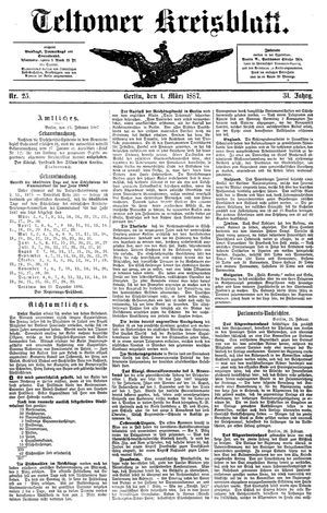 Teltower Kreisblatt vom 01.03.1887