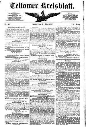 Teltower Kreisblatt vom 31.03.1887