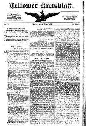 Teltower Kreisblatt vom 01.04.1887