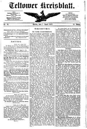 Teltower Kreisblatt vom 07.04.1887