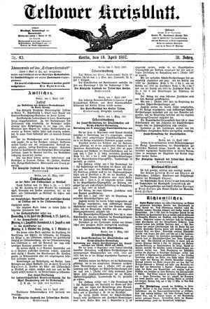 Teltower Kreisblatt on Apr 14, 1887
