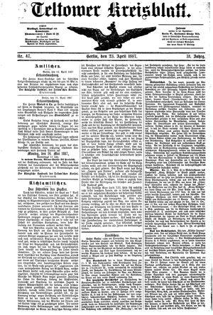 Teltower Kreisblatt vom 23.04.1887