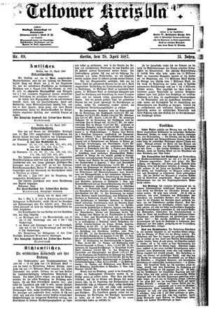 Teltower Kreisblatt vom 28.04.1887