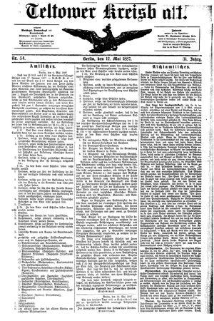 Teltower Kreisblatt vom 12.05.1887