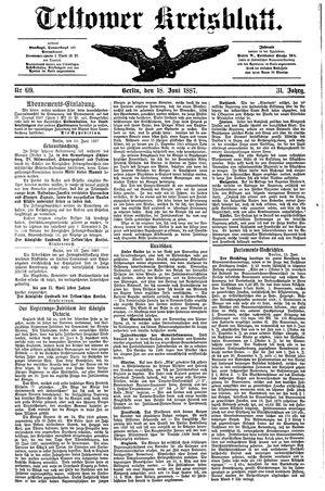 Teltower Kreisblatt vom 18.06.1887