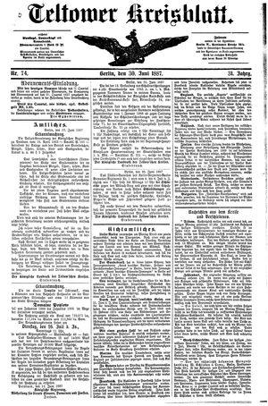 Teltower Kreisblatt vom 30.06.1887