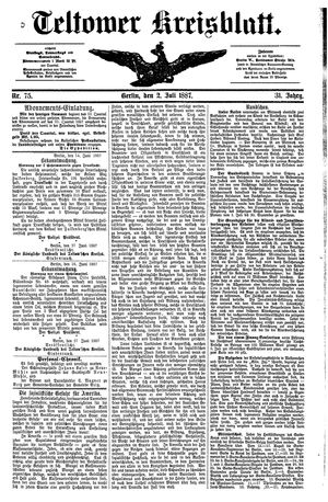Teltower Kreisblatt vom 02.07.1887