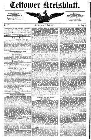 Teltower Kreisblatt vom 07.07.1887