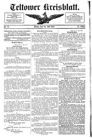 Teltower Kreisblatt vom 16.07.1887