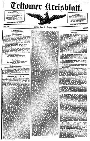 Teltower Kreisblatt vom 11.08.1887