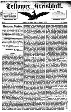 Teltower Kreisblatt vom 03.01.1888