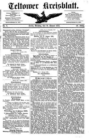 Teltower Kreisblatt vom 10.01.1888