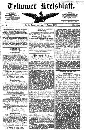 Teltower Kreisblatt vom 12.01.1888