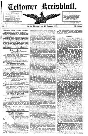 Teltower Kreisblatt vom 17.01.1888
